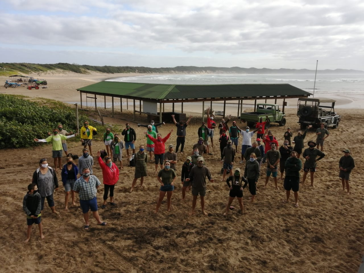 Triton helps clean the beach ready for divers